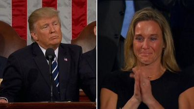 9RAW: US Navy SEAL widow breaks down during Trump speech