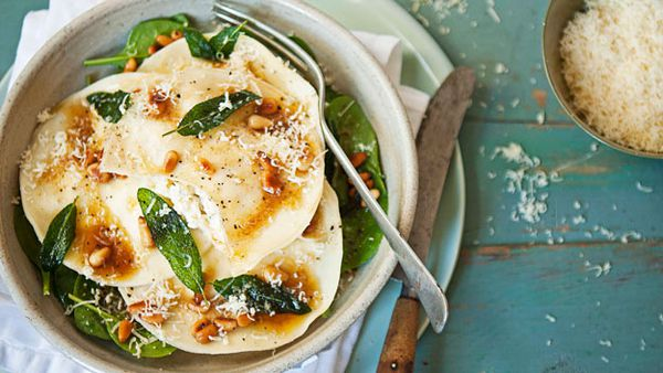 Three cheese ravioli with beurre noisette