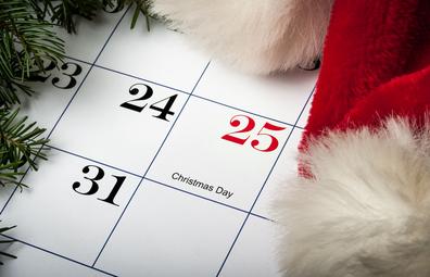 Christmas Day on a calendar