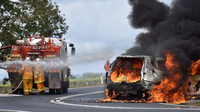 Police pursuit ends in fiery smash