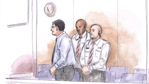 A court sketch of Bradley Robert Edwards at a final directions hearing ahead of his lengthy trial.