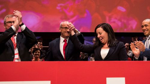 NSW Opposition Leader Luke Foley is congratulated by NSW Labor General Secretary Kaila Murnain during the NSW Labor State Conference held at Town Hall in Sydney on June 30, 2018.
