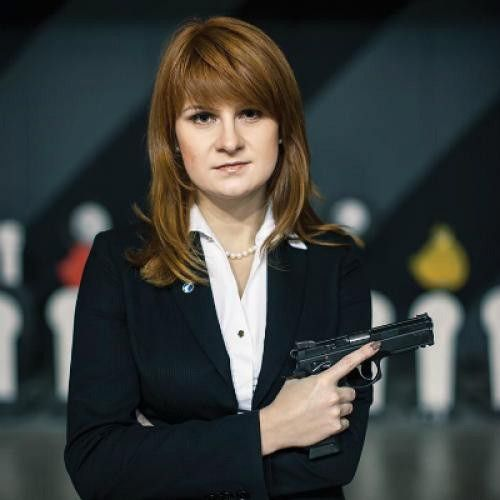 An undated handout picture made available by the Press Service of the Civic Chamber of the Russian Federation on chamber's official website shows 'The Right to Bear Weapons' Public Organization's Board Chairman Maria Butina posing with a gun in Moscow, Russia. Russian citizen Maria Butina, 29, was arrested in the United States on suspicion of being engaged in conspiracy against the U.S. and acting as an unregistered Russian agent. EPA/Press Service of Civic Chamber of the Russian Federation