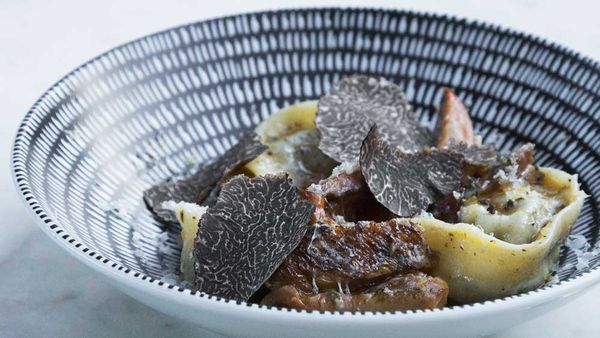 Gazebo's mushroom tortellini with pine mushroom ragout, truffle pec, fresh shaved truffles, courtesy of chef Sam Bull
