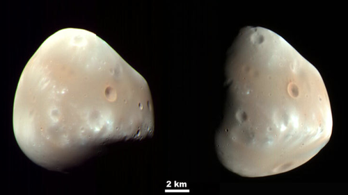 These color-enhanced views of Deimos, the smaller of the two moons of Mars, result from imaging on Feb. 21, 2009, by the High Resolution Imaging Science Experiment (HiRISE) camera on NASA's Mars Reconnaissance Orbiter. Image Credit: NASA/JPL-Caltech/University of Arizona