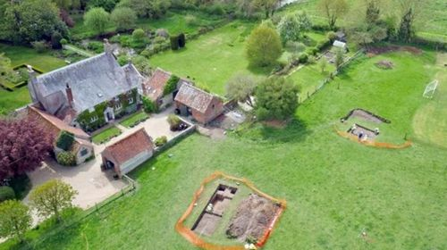 An aerial view of Mr Irwin's property showing the dig site.