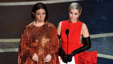 Maya Rudolph and Kristen Wiig speak onstage during the 92nd Annual Academy Awards at Dolby Theatre on February 09, 2020.