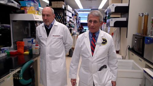 "Dr Antony Fauci (right) said a 10-year flu vaccine would be a ""game-changer"". (60 Minutes)"