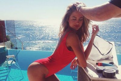 Bringing <i>Baywatch</I> back, Jesinta flaunted her ever-shrinking bod in a behind-the-scenes shoot on Instagram.