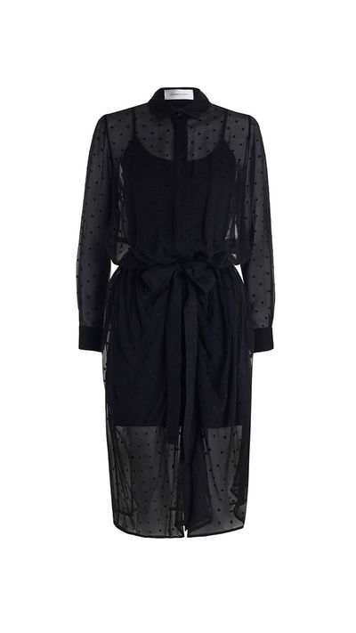 "<a href=""http://www.zimmermannwear.com/readytowear/fortune-burnout-wrap-dress-black.html"" target=""_blank"">Dress, $420, Zimmermann</a>"