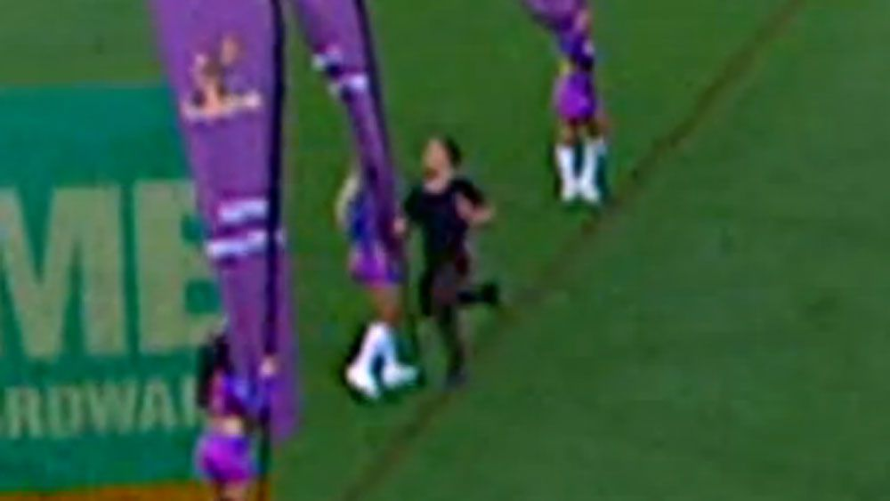 NRL fan crashes into cheerleader