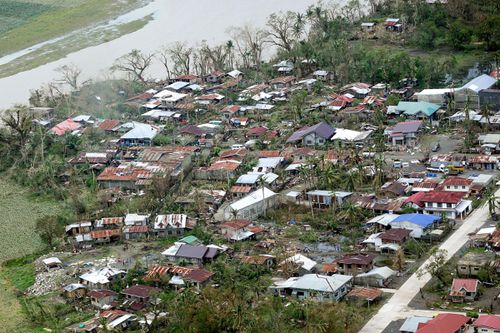 A village in northern Luzon, in the Philippines, which fell victim to Typhoon Mangkhut.