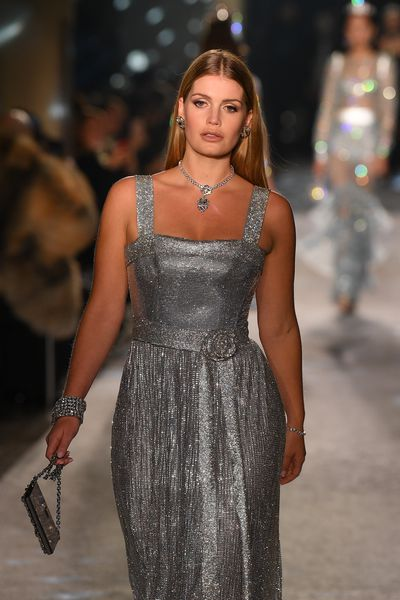Lady Kitty Spencer walks the runway at the Dolce & Gabbana show during Milan Fashion Week, February, 2018.