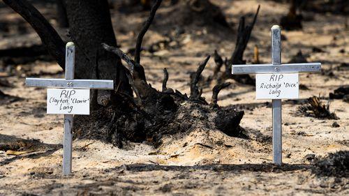 Two crosses mark where the men died.