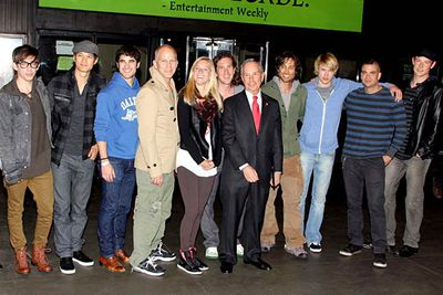 The cast of <i>Glee </i>pictured with series creators Ryan Murphy, Brad Falchuk and Ian Brennan, and New York mayor Michael Bloomberg.