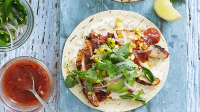 """Recipe:&nbsp;<a href=""""http://kitchen.nine.com.au/2016/05/20/10/04/smoky-chargrilled-chicken-tortillas-with-grilled-corn-and-herb-salad"""" target=""""_top"""" draggable=""""false"""">Smoky chargrilled chicken tortillas with grilled corn and herb salad</a>"""