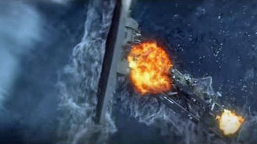 The scene when the 'US Navy' is destroyed by the tidal wave. (YouTube screenshot)