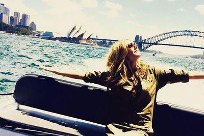 "@heidiklum: ""Hello Sydney! Finally here! @heidiklumintimates"""
