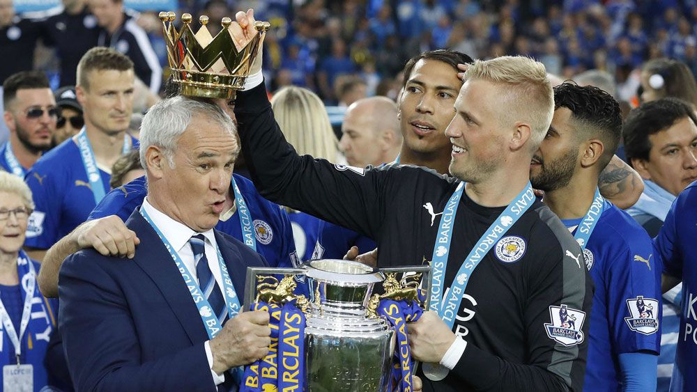 Claudio Ranieri and Kasper Schmeichel during happier times.(AAP)