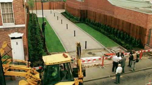 A paved walkway covers the site of the so called House of Horrors at 25 Cromwell street after it was demolished.
