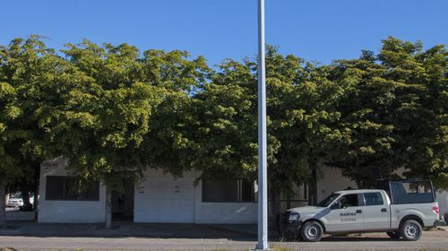 An outside view of the home where five gang members were shot dead as marines captured El Chapo. (AFP)