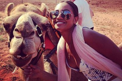 @jessicamauboy: About to ride this Spunk!!!! Thank you sam for introducing me and the crew to Isaac and the other camels!!!! WHOOHOO! Way too much fun!:) #Broome #WA #Beautiful <br/>