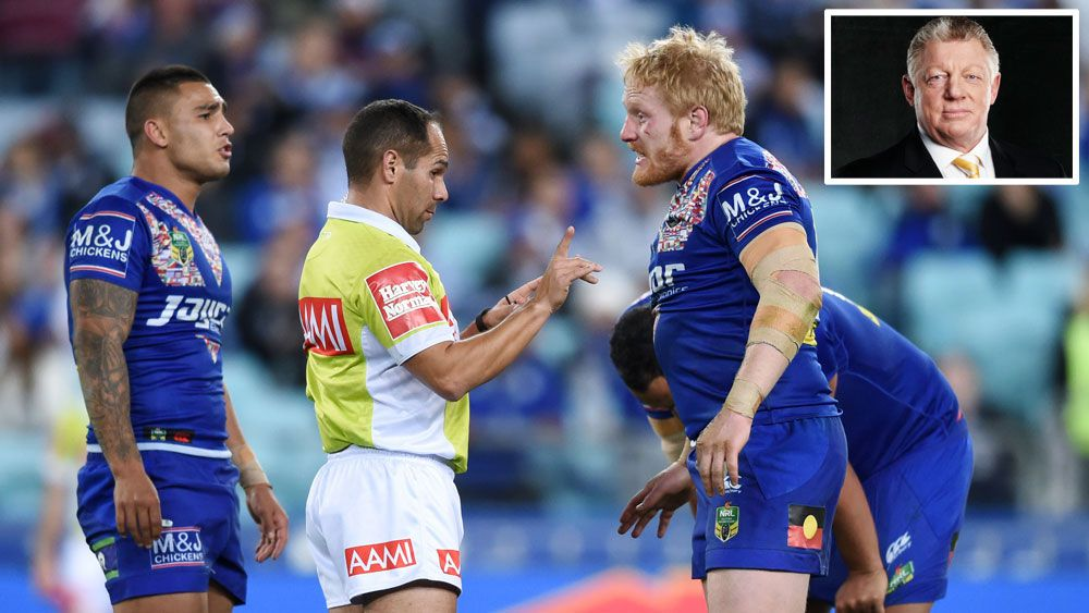 NRL referee Ashley Klein (middle), Canterbury captain James Graham (r) and Channel Nine commentator Phil Gould (inset).