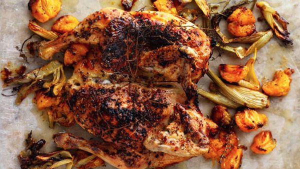 Roast chicken with tangerines and ouzo