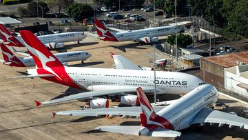 Qantas planes parked on the tarmac at Sydney Airport, in Australia. Restrictions have been placed on all non-essential business and strict social distancing rules are in place across Australia in response to the COVID-19 pandemic.