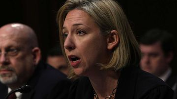 Jeanette Manfra testifies before the Senate. (AFP)