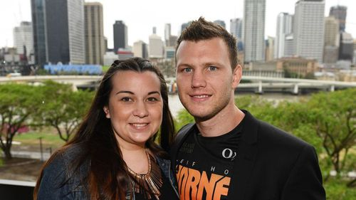Australian boxer and WBO World Welterweight champion Jeff Horn and his wife Jo. (AAP)