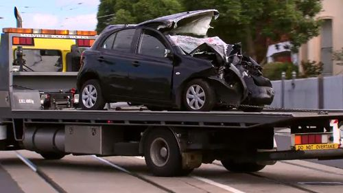 The male driver has been taken to hospital with non-life threatening injuries. (9NEWS)