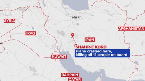 A map showing where the plane crashed. (9News)