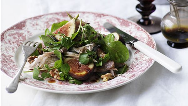 Turkey, fig and duck liver salad