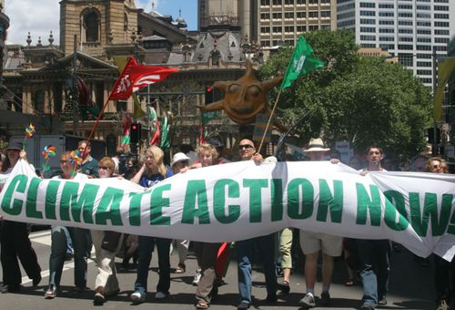 This file photo from 2005 shows a climate change protest in Sydney that coincided with the Montreal Convention that set new limits on chemical dioxide emissions.