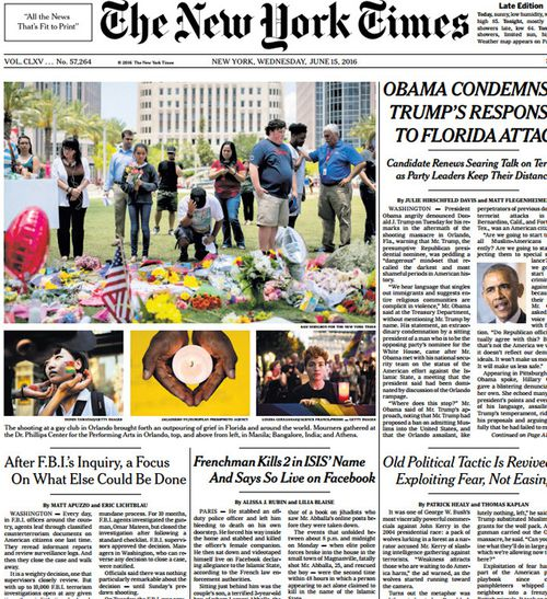 Front page of The New York Times.