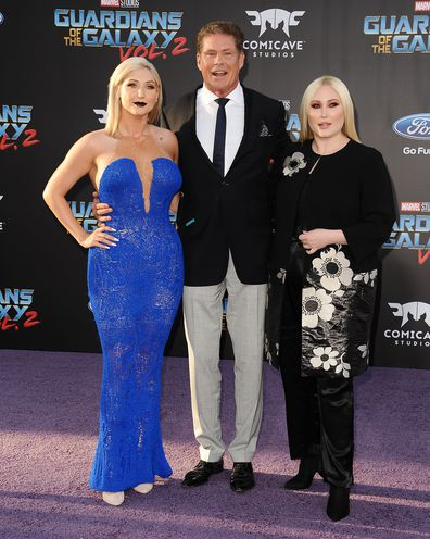 """Taylor Ann Hasselhoff, David Hasselhoff and daughter Hayley Hasselhoff at the premiere of """"Guardians of the Galaxy Vol. 2"""" in 2017."""