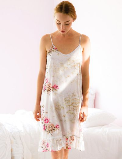 """<a href=""""https://lazybones.com.au/collections/women-1/products/kristel-slip-in-the-glade?variant=31758535492"""" target=""""_blank"""" draggable=""""false"""">Lazybones Kristel Slip, $79.</a>Why? To avoid the baby vom on your jacket/dress/wrap - wear a slip while you get ready for work then dress just as you pop out the door."""