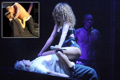 Chris Brown and Rihanna might have their very public differences, but onstage, sometimes, it's hard to tell them apart. Britney wasn't the only one getting her grind on in 2011, with Rihanna straddling and riding a 60-year-old audience member and Chris Brown dry-humping a female fan (she wasn't as immobilised as Rihanna's pensioner, she got into it and started stroking his chest!).