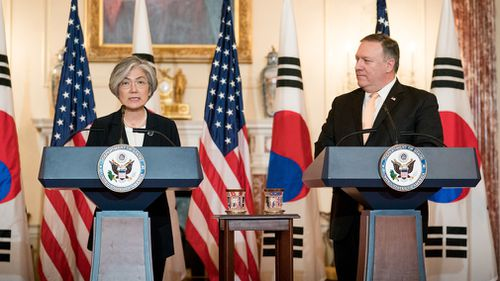 US President Donald Trump is set to meet with North Korean leader Kim Jong Un next month in Singapore, US Secretary of State Mike Pompeo and South Korean Foreign Minister Kang Kyung-wha announced in a joint press conference. (EPA)