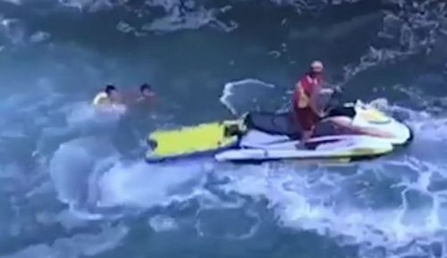 On the Central Coast, teenagers were stranded in a cave as the tide rushed in.  Two lifeguards managed to rescue them with the help of a jetski.