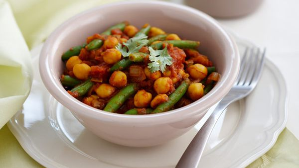 Chickpea curry with rice