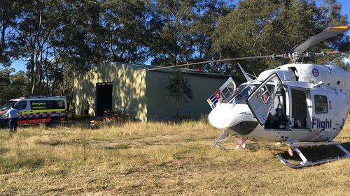 A 26-year-old fell eight metres through a roof in Kenthurst.