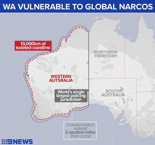 Map showing the vast coastal borders of Western Australia.