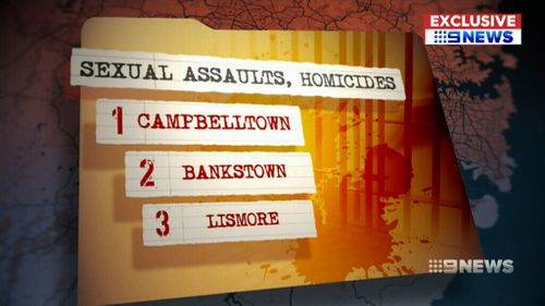 Campbelltown was the number one hotspot for those committing sexual assaults and homicides. (9NEWS)