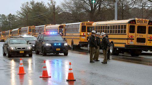 Police outside Great Mills High School following a shooting. (Getty)