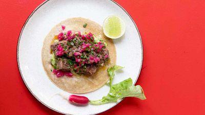 "Recipe:<a href=""http://kitchen.nine.com.au/2017/05/03/12/31/toby-wilsons-beef-short-rib-taco"" target=""_top"">Toby Wilson's beef short rib taco</a>"