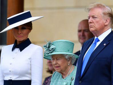 Melania Trump with Queen Elizabeth and Donald Trump.