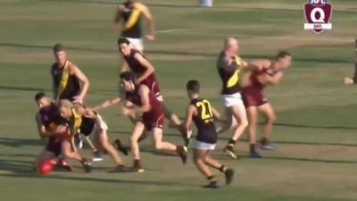 Former AFL star Barry Hall punches opposition players in QAFL grand final