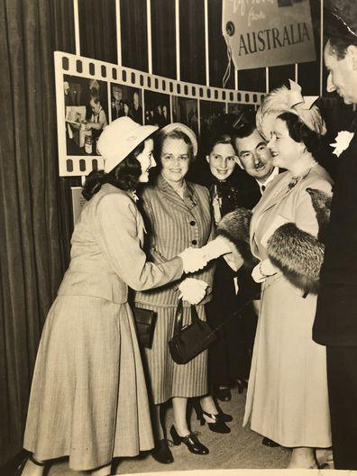 Rosalind Carrodus meeting the Queen Mother in Australia, 1948.